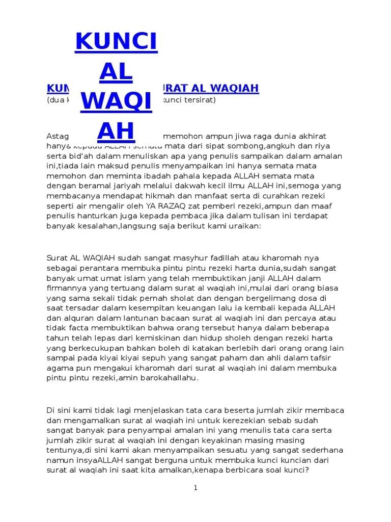 Surat Waqiah Pembuka Rezeki : surat, waqiah, pembuka, rezeki, Amalan, Surat, Waqiah, Untuk, Kekayaan, Kumpulan, Penting