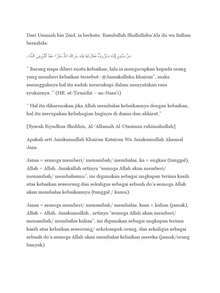 Jawaban Jazakallah Khairan Katsiran : jawaban, jazakallah, khairan, katsiran, Jazakallah, Khairan, Katsiran