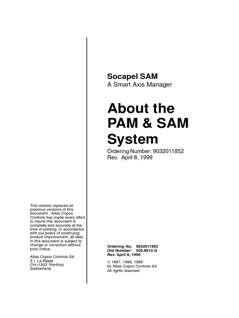 medium resolution of atlas copco about the pam sam system cable cartesian coordinate system