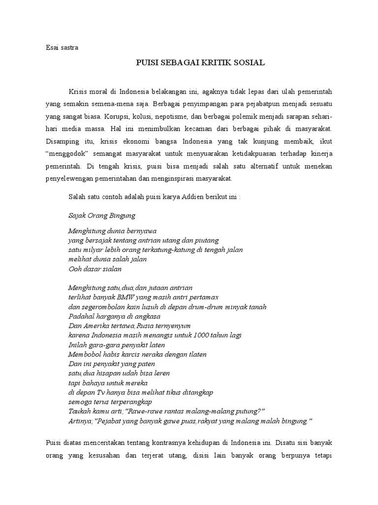 Contoh Esai Kritik Sosial : contoh, kritik, sosial, Puisi, Sebagai, Kritik, Sosial