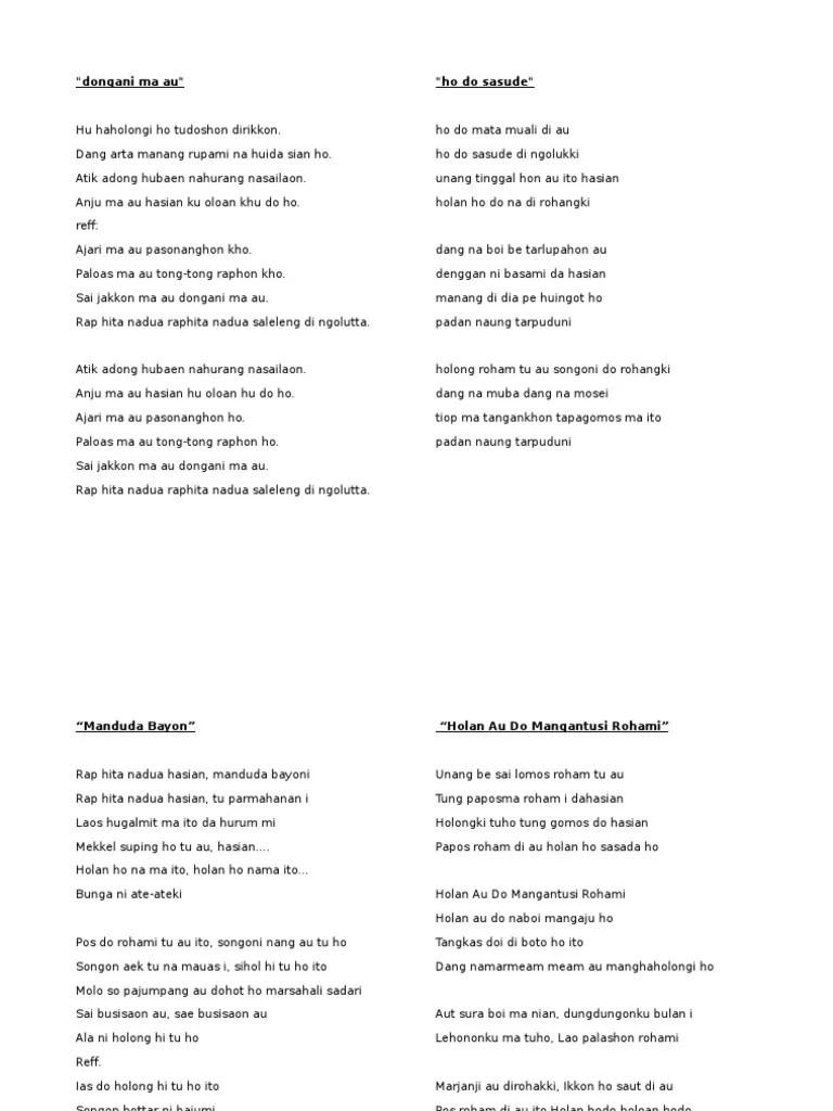 Lirik Manduda Bayon : lirik, manduda, bayon, Batak.docx