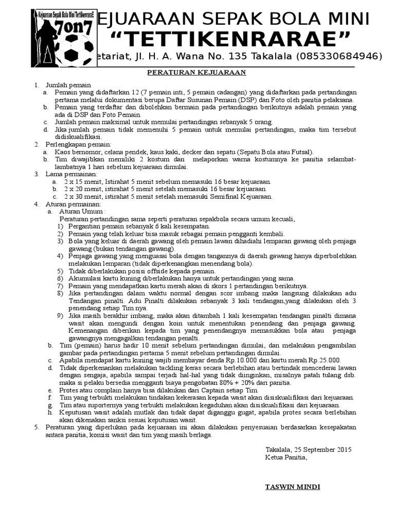 Peraturan Mini Soccer : peraturan, soccer, Contoh, Peraturan, Pertandingan, Sepak
