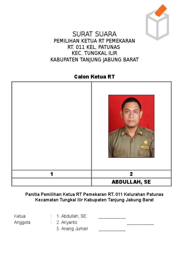 Undangan Rapat Pembentukan Panitia Pemilihan Ketua Rt