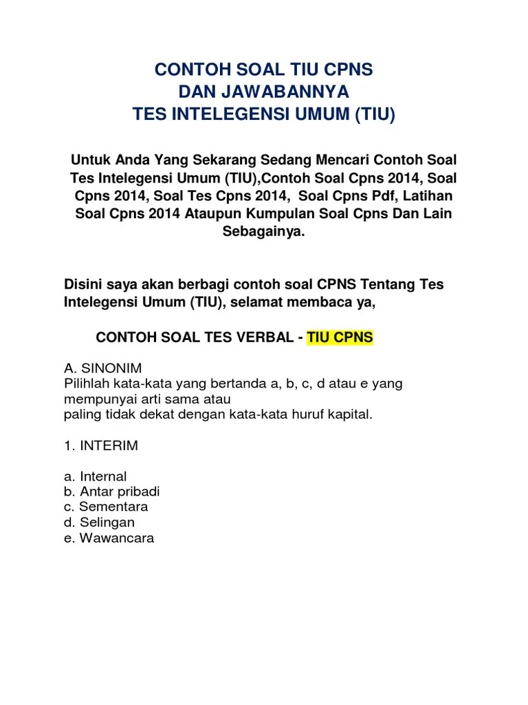 Latihan Soal Tiu : latihan, Contoh, Kumpulan, Cute766