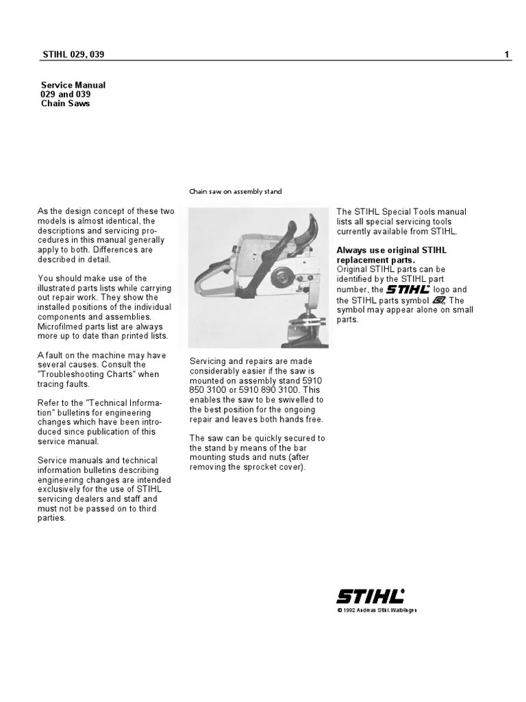 medium resolution of stihl chain saw service manual models 029 and 039 ignition system piston