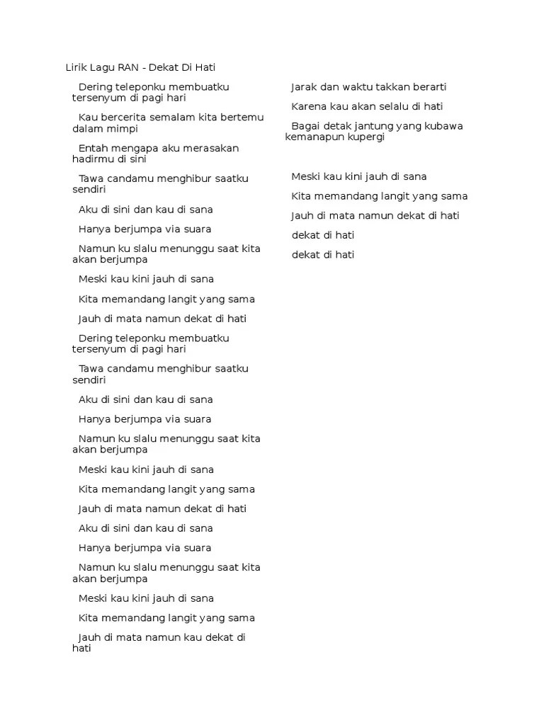 Lirik Lagu Dekat Di Hati : lirik, dekat, Lirik, China