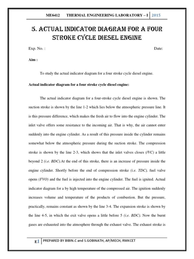 hight resolution of actual indicator diagram for a four stroke cycle diesel engine