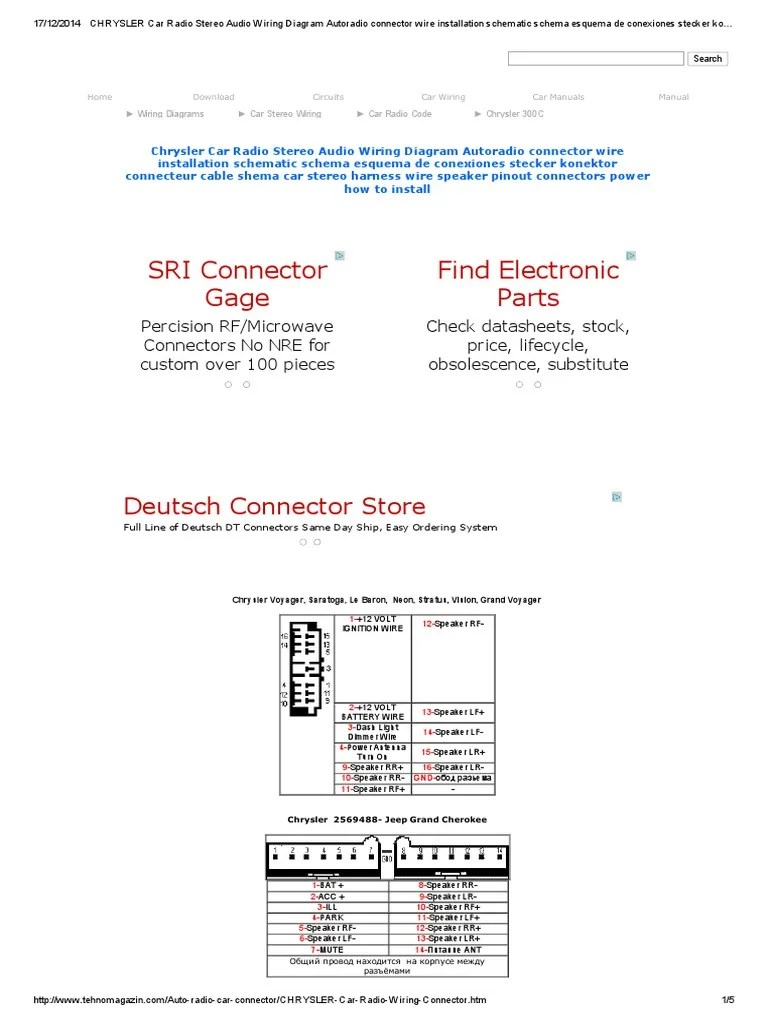hight resolution of chrysler car radio stereo audio wiring diagram autoradio connector wire installation schematic schema esquema de conexiones stecker konektor connecteur