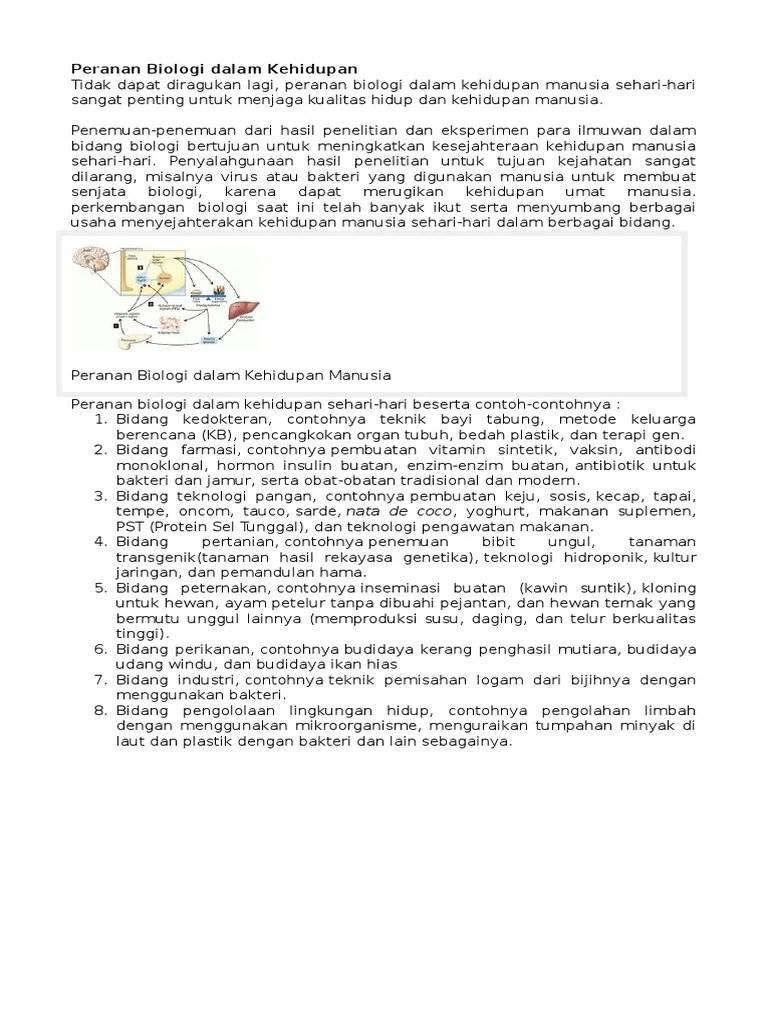 Peranan Biologi Dalam Berbagai Bidang : peranan, biologi, dalam, berbagai, bidang, Peranan, Biologi, Dalam, Kehidupan