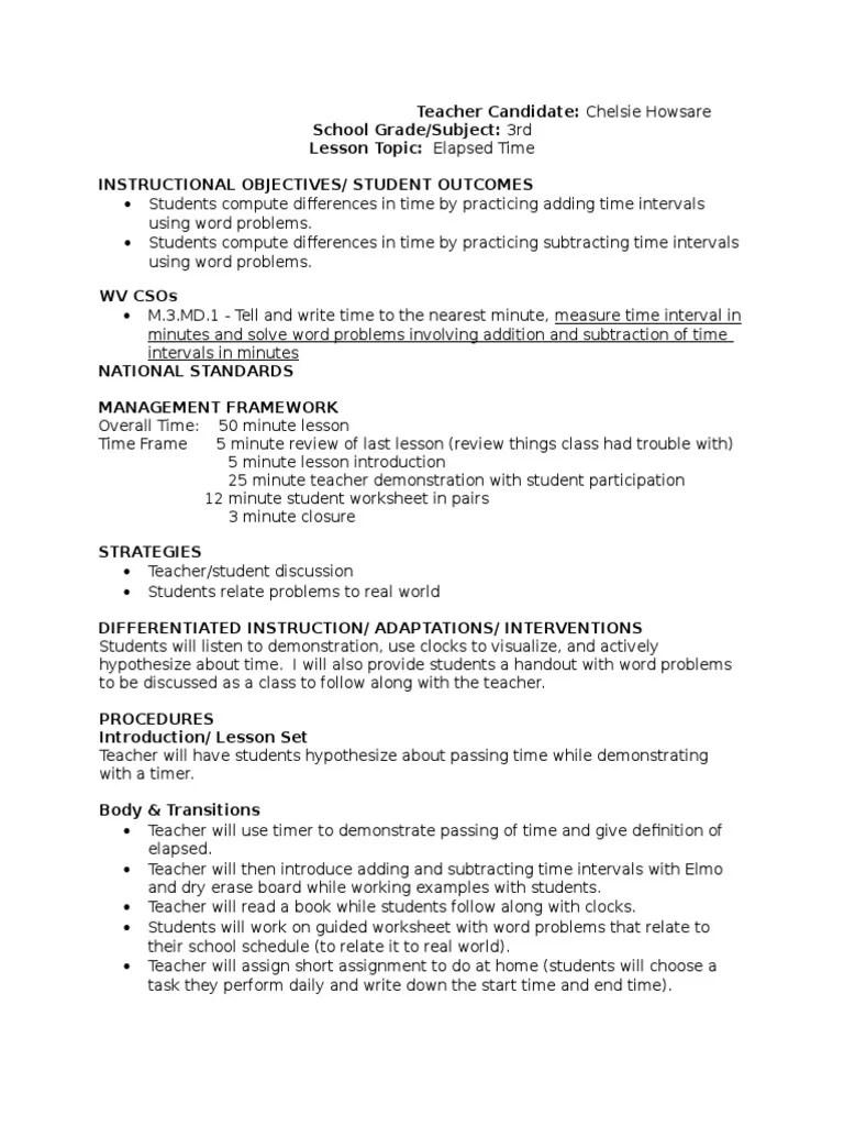 medium resolution of elapsed time lesson plan 1   Time   Lesson Plan