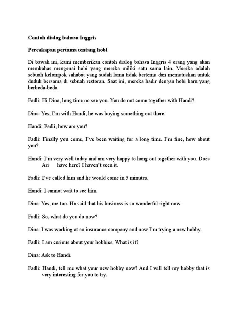 Hobi Dalam Bahasa Inggris : dalam, bahasa, inggris, Contoh, Dialog, Bahasa, Inggris, Jawkosa, Cute766