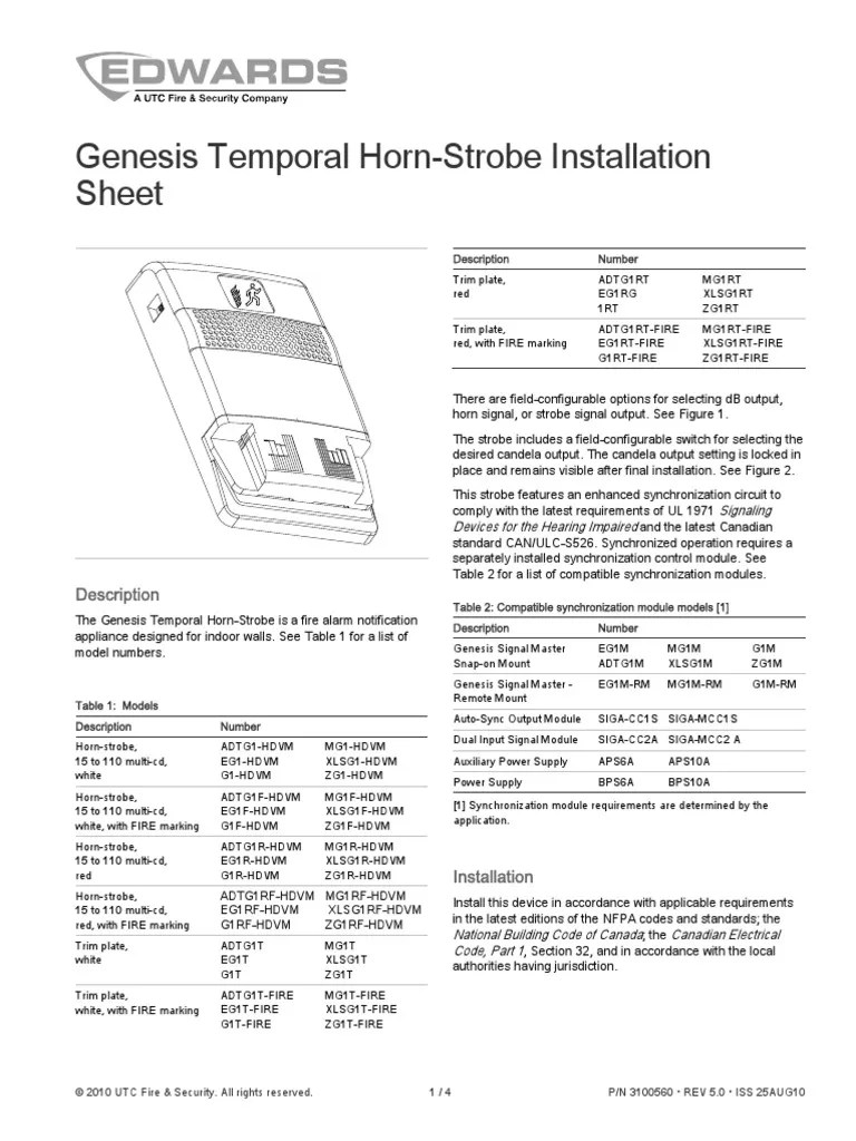3100560 r5 0 genesis temporal horn strobe installation sheet electric current switch [ 768 x 1024 Pixel ]