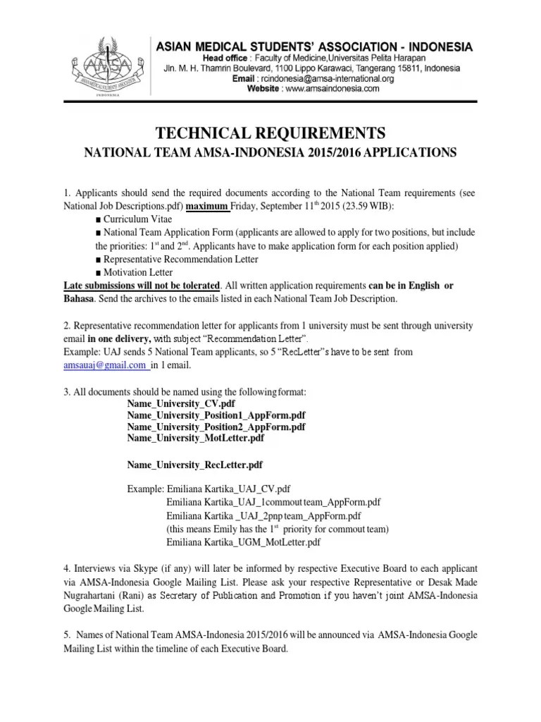 Technical Requirements National Team AMSA Indonesia 2015 2016 Pdf