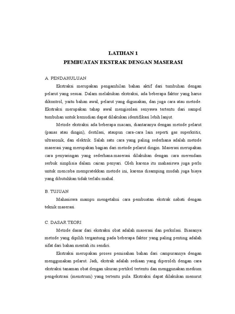 Laporan Praktikum Maserasi : laporan, praktikum, maserasi, Laporan, Praktikum, Maserasi