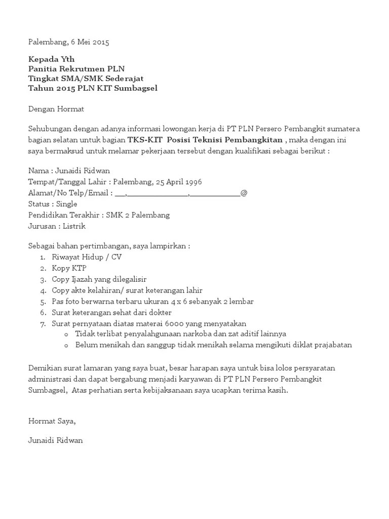 Contoh Surat Lamaran Kerja Pt Pln Suratlamaran Corona Todays