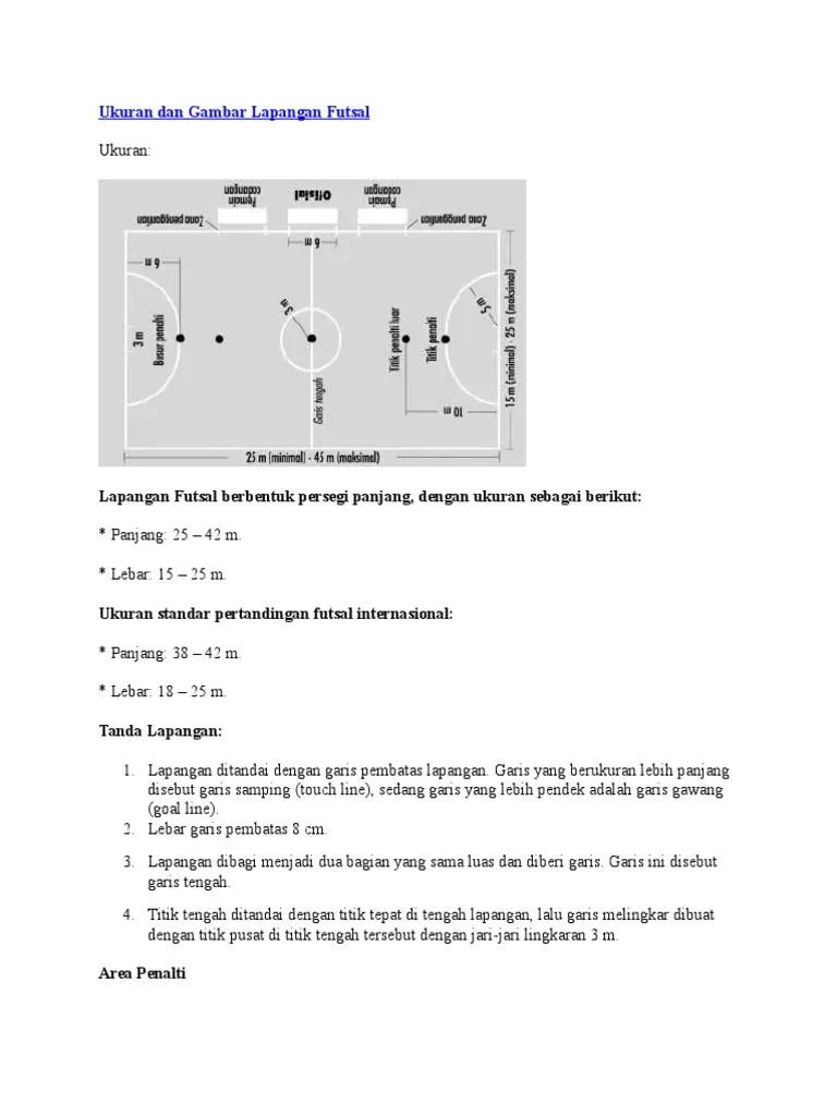 Gambar Lapangan Futsal Dan Ukurannya : gambar, lapangan, futsal, ukurannya, Ukuran, Gambar, Lapangan, Futsal