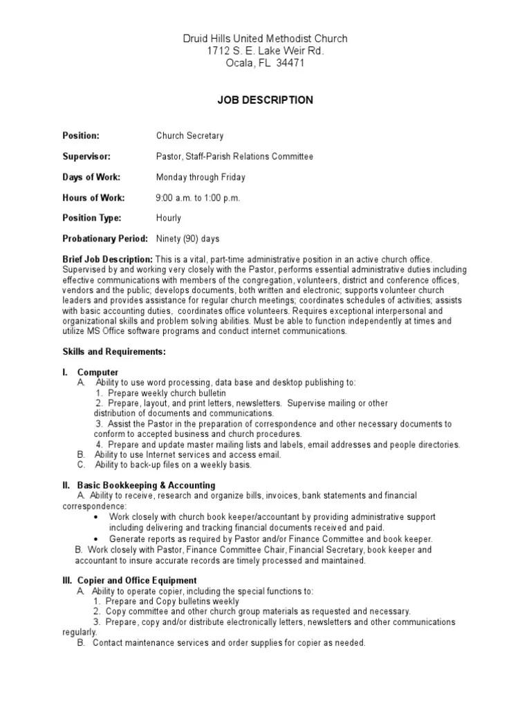 Church Secretary Job Description Mail Bookkeeping
