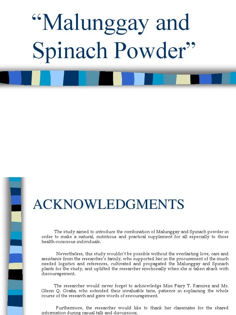 Malunggay And Spinach Powder Investigatory Project Sample