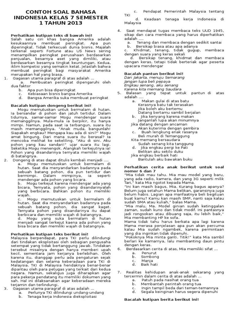 Soal Bahasa Indonesia Kelas 7 Semester 1 Kurikulum 2013 : bahasa, indonesia, kelas, semester, kurikulum, Contoh, Jawaban, Bahasa, Indonesia, Kelas, Semester