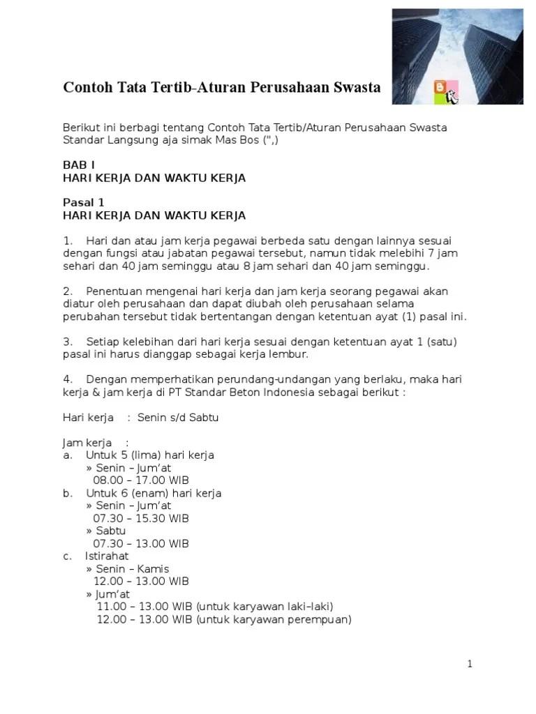 Contoh Tata Tertib Perusahaan Docx
