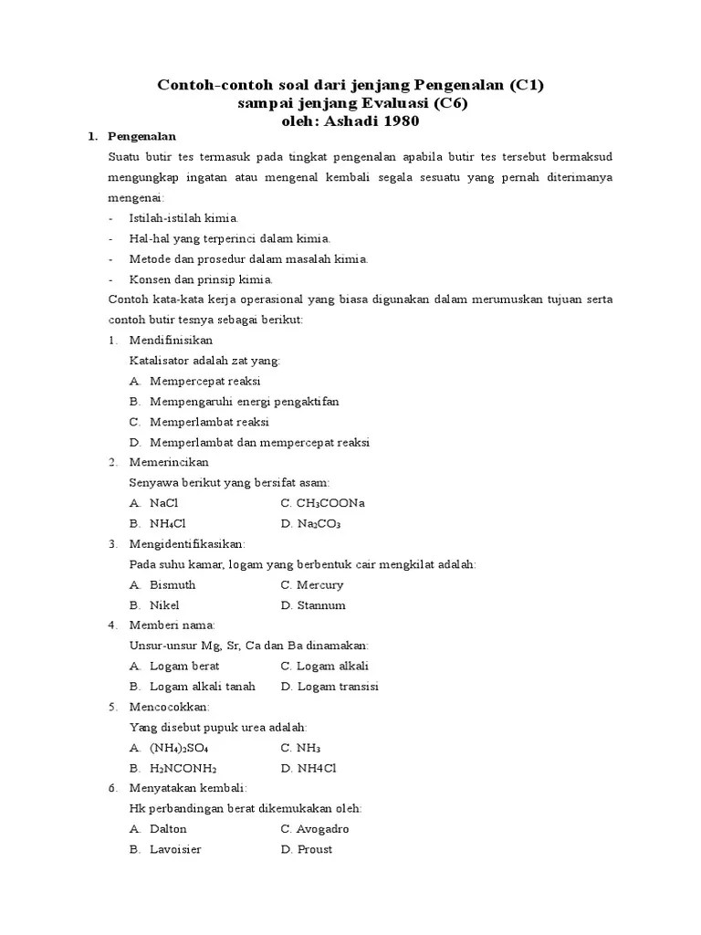 Contoh Soal C1 Sampai C6 Untuk Sd : contoh, sampai, untuk, Contoh, C1-C6