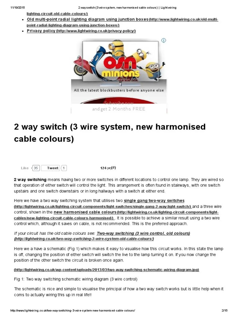 small resolution of 2 way switch 3 wire system new harmonised cable colours light wiring electrical wiring electrical equipment