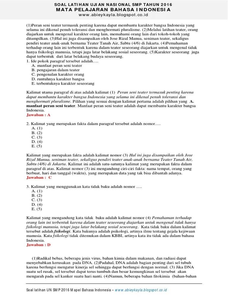 Latihan Unbk Smp Bahasa Indonesia : latihan, bahasa, indonesia, Ujian, Bahasa, Indonesia, Helmi, Kediris