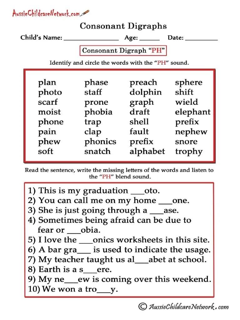 Consonant Digraphs Worksheets Ph   Linguistics [ 1024 x 768 Pixel ]