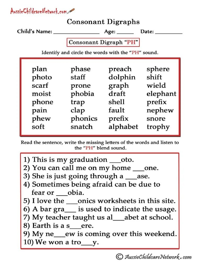 small resolution of Consonant Digraphs Worksheets Ph   Linguistics