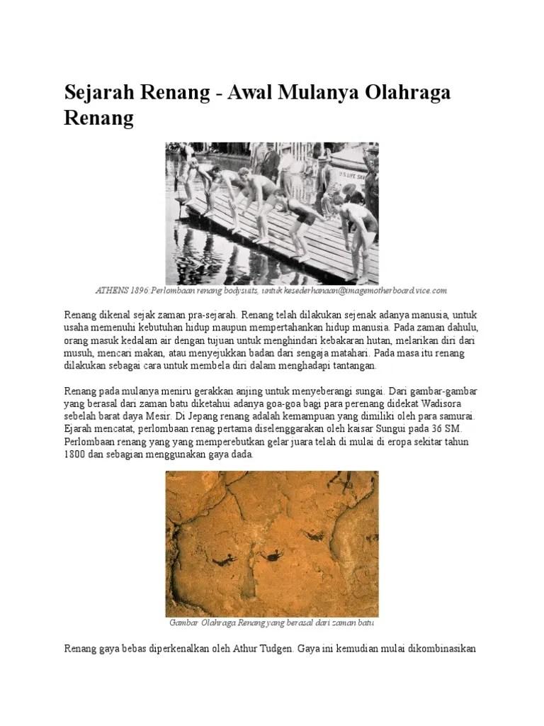 Sejarah Berenang : sejarah, berenang, Sejarah, Renang