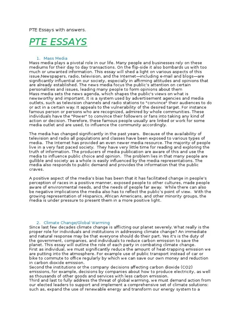 PTE Essays With Answers Tourism Mass Media