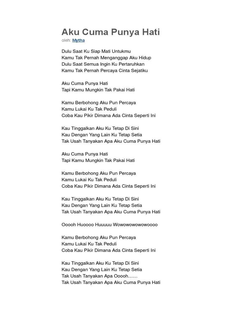Lirik Lagu Mytha - Aku Cuma Punya Hati - Broccolichocosugar