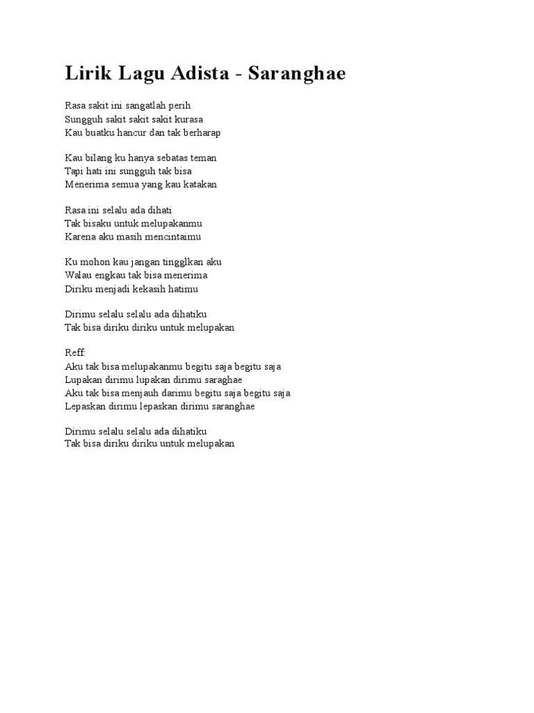 Chord Adista Rasa Sakit | Kunci Gitar & Lirik Lagu