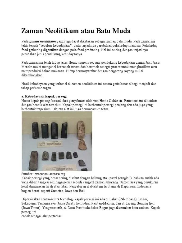 Hasil Kebudayaan Zaman Neolitikum : hasil, kebudayaan, zaman, neolitikum, Zaman, Neolitikum