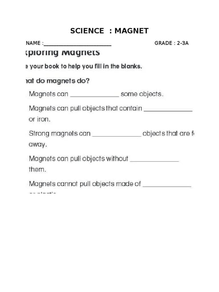 hight resolution of science magnet worksheet   Magnet   Magnetism