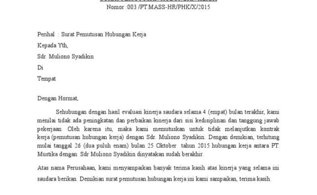 Contoh Surat Pemecatan Cute766