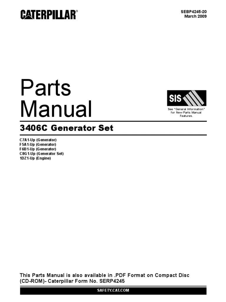 3406c generator set parts manual vehicle technology rotating machines [ 768 x 1024 Pixel ]