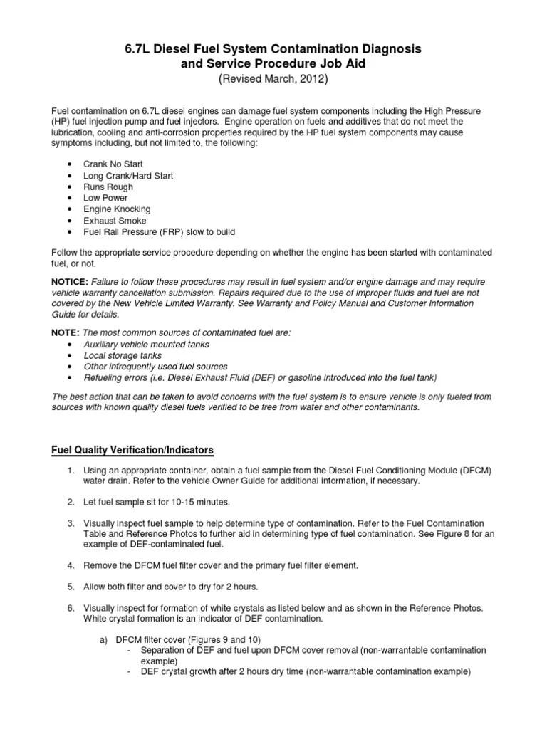 6 7 diesel fuel system contamination diagnosis and service procedure job aid diesel engine biodiesel [ 768 x 1024 Pixel ]