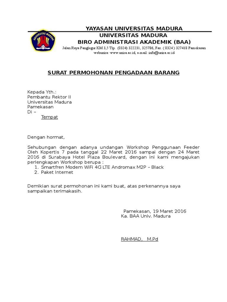 Contoh Surat Permohonan Pejabat Pengadaan Barang Dan Jasa