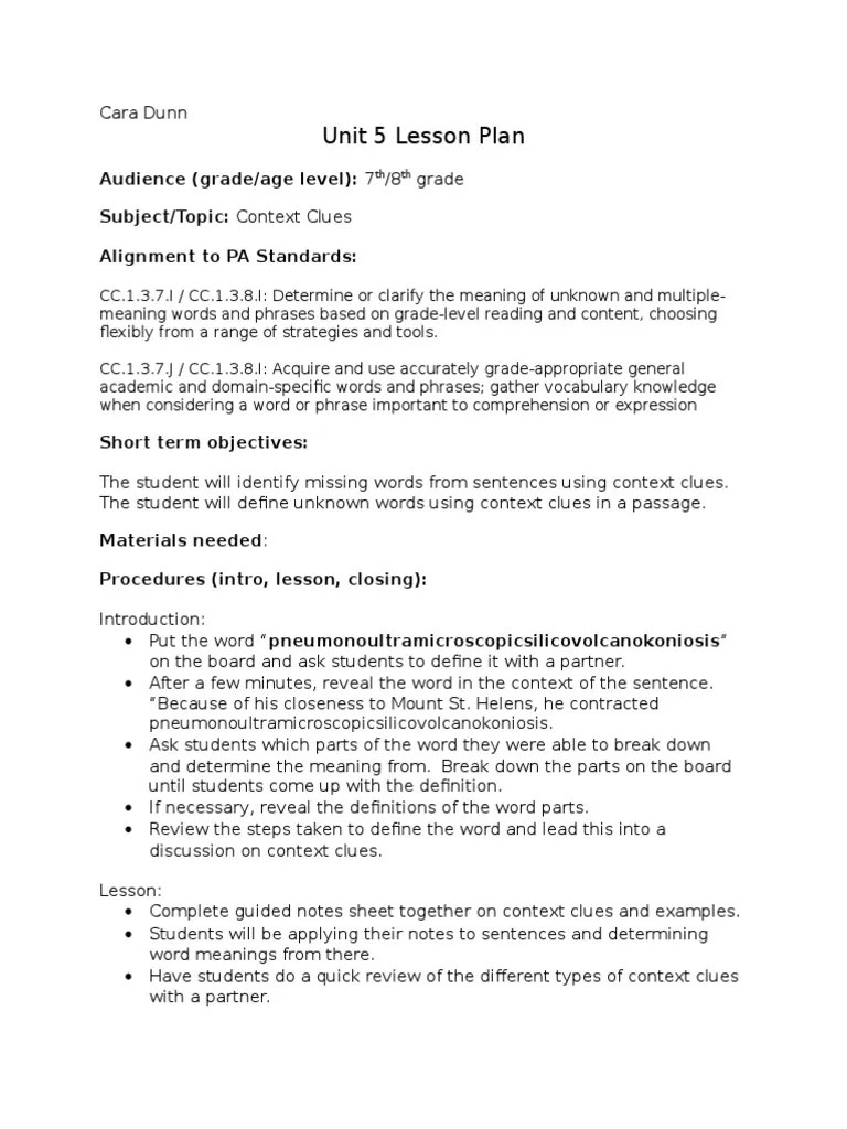 hight resolution of context clues lesson plan   Lesson Plan   Psychological Concepts