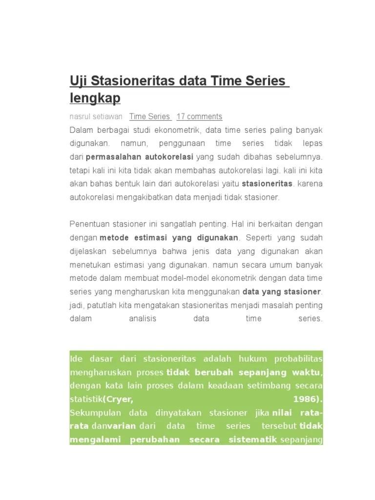 Uji Stasioneritas Eviews : stasioneritas, eviews, Stasioneritas, Series, Lengkap