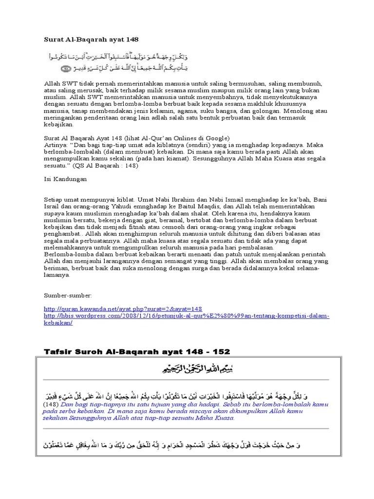 Surat Al Baqoroh Ayat 148 : surat, baqoroh, Surat, Baqarah