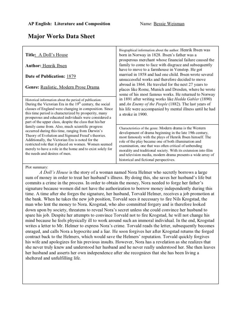 Major Works Datasheet 5