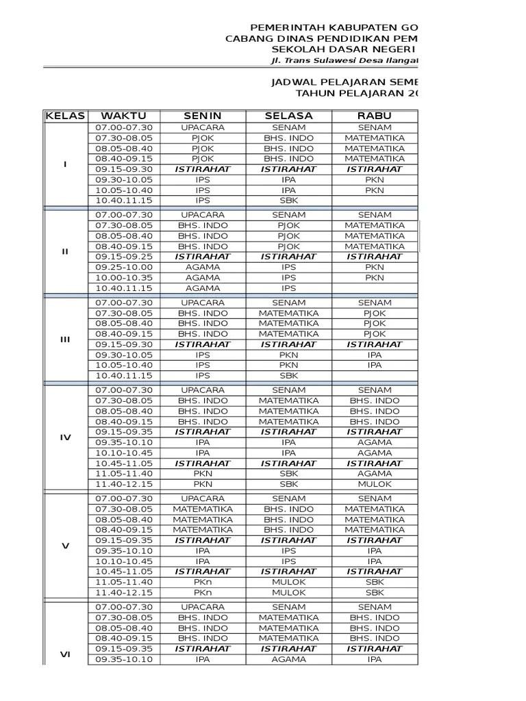 Jadwal Pelajaran K13 Kelas 4 : jadwal, pelajaran, kelas, Contoh, Jadwal, Pelajaran