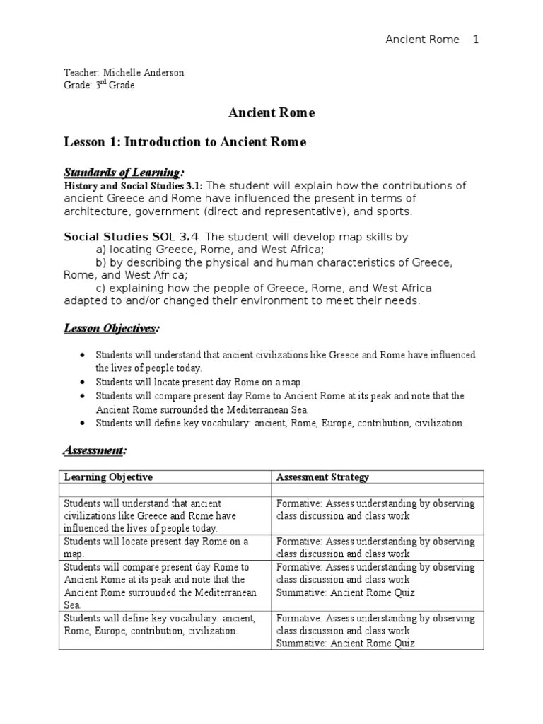 hight resolution of ancient rome lesson plan   Reading Comprehension   Ancient Rome