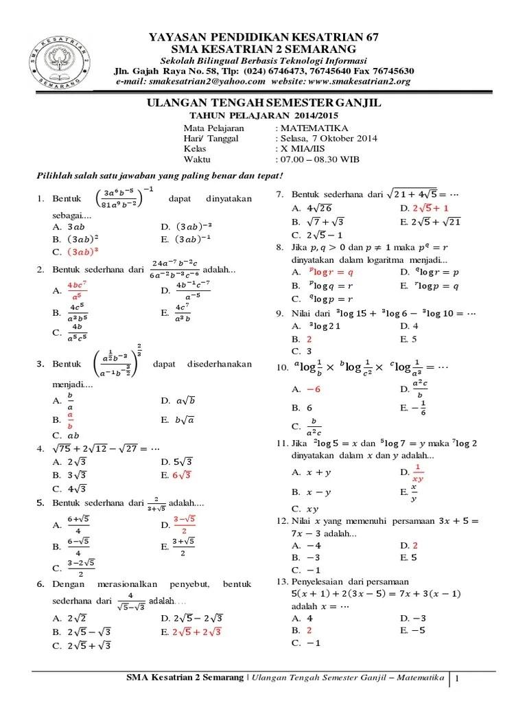 Soal Bahasa Indonesia Kelas 10 Semester 1 2 dan Jawabannya
