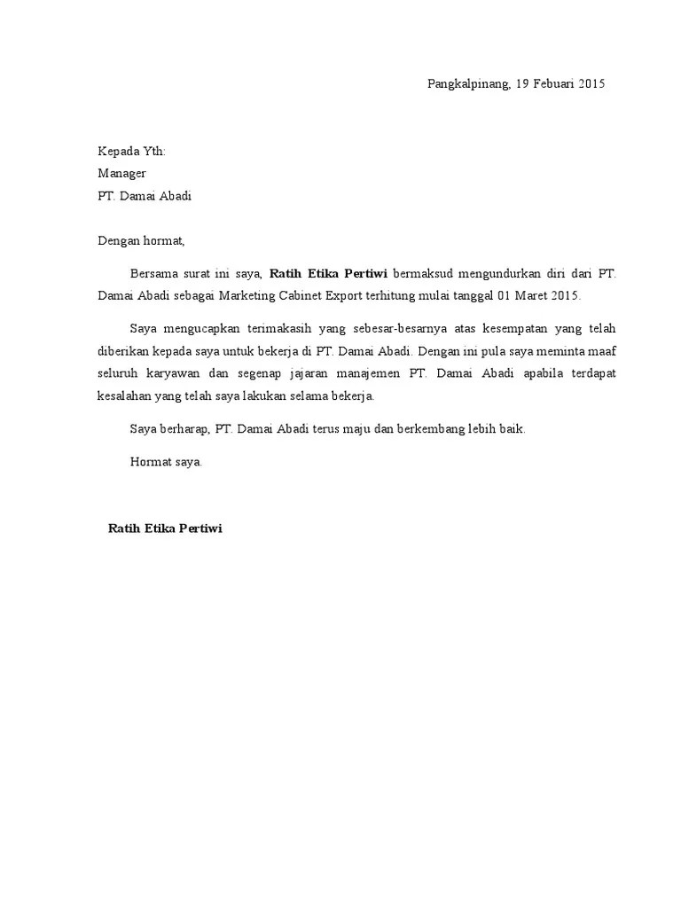 Download Surat Pengunduran Diri Karyawan Doc : download, surat, pengunduran, karyawan, Contoh, Surat, Resign