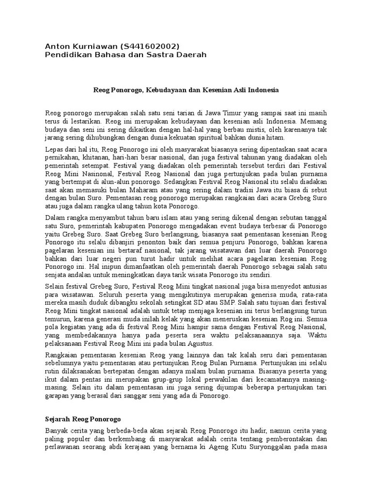 Deskripsi Reog Ponorogo : deskripsi, ponorogo, Artikel, Ponorogo