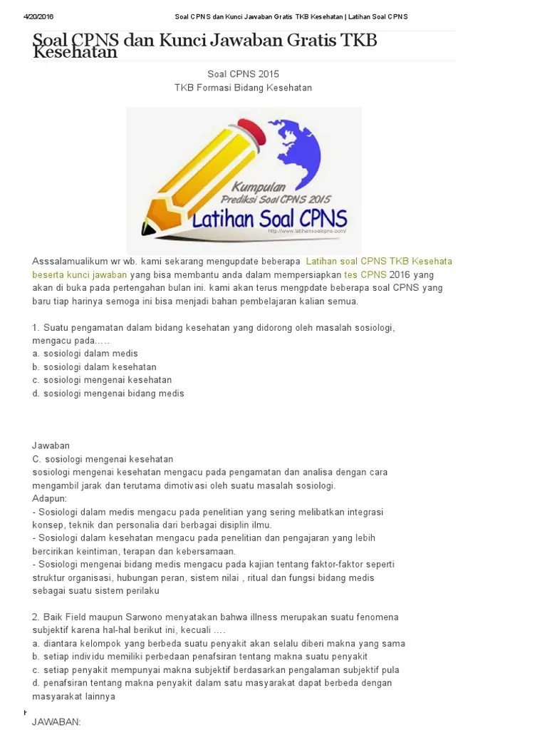 Contoh Soal Cpns 2020 Dan Kunci Jawaban Contoh Soal Terbaru Cute766