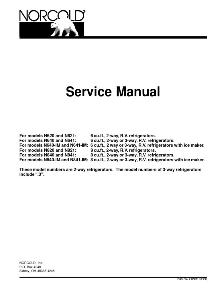 nor cold manual for models n620 and n621 refrigerator fuse electrical  [ 768 x 1024 Pixel ]